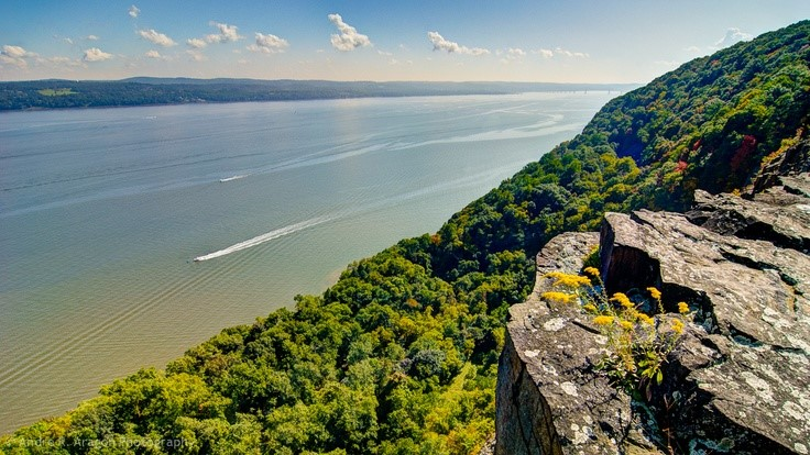 View of Hudson River from high in Hook Mountain State Park, Upper Nyack, New York