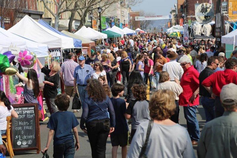 pedestrians at Nyack's Famous Street Fair