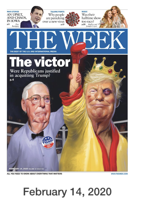 Cover of the Week magazine with Donald Trump as victor